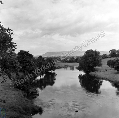 River Ribble and Pendle Hill from Mitton Bridge